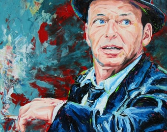 Frank Sinatra Original Oil canvas Painting Rat Pack Las Vegas Mobsters ICONS Large