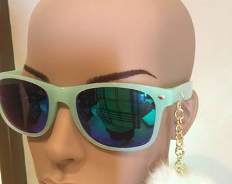 Tiffany Green Sunglasses with Charm , Charmed Sunglasses , Puff Ball Sunglasses
