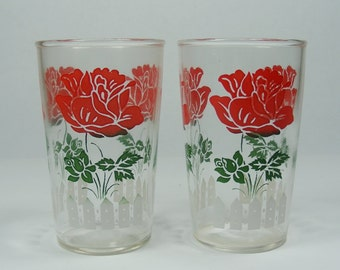 Pair of Juice Glasses with Roses and White Picket Fence Vintage Juice Glass