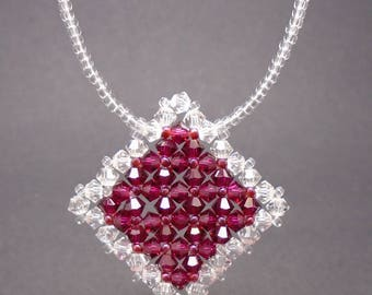 Ruby & Crystal Swarovski Necklace, Swarovski Necklace
