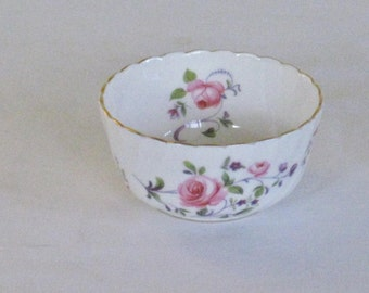 Vintage Royal Adderley Mini Open Sugar Bowl, Fragrence Pattern, Pink Roses Purple Flower Gold scalloped Rim, Ribbed White Bone China England