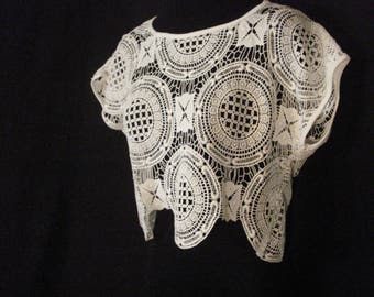 White Lace Cropped Top Blouse Vintage Chic Boho Hippie SM
