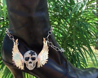 HandCrafted Rhinestone Skull and Wings Boot Bracelet