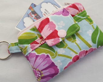 Zipper Mini Wallet Pouch Key Chain Card holder - Flowers
