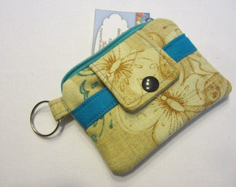 Zipper Mini Wallet Pouch Key Chain  Card holder - Butterflies