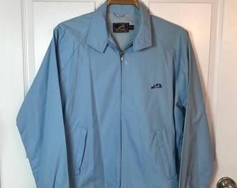 Vintage The Hare by Montgomery Ward Mens Lightweight Light Blue Spring / Summer Jacket - preppy jacket - Size Large