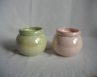 Set of 2 Extra Small Ceramic African Violet Pot Planters / Mother of Pearl
