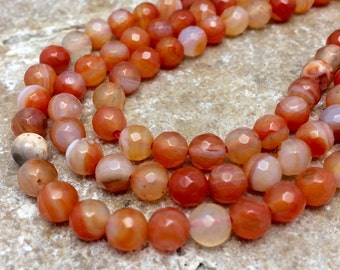 Carnelian Agate 6mm Faceted Round Beads, 7 inch strand, Gemstones
