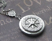Compass Locket Necklace Silver Compass Jewelry Photo Picture Locket True North Locket Compass Necklace Round Locket Unisex Locket Gift