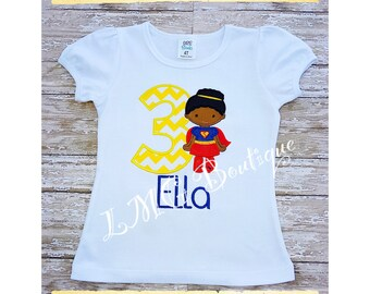 Personalized Superhero shirt - Supergirl Applique Shirt with number- Girls superhero birthday shirt Personalized shirt- Super girl shirt