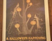 A Halloween Happening by Adrienne Adams, Vintage 1980s Halloween Children's Book, Scarce Collectible, Friendly Witches, Halloween Party,