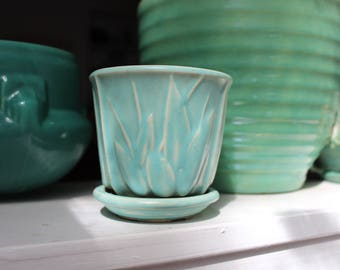 "Nelson McCoy Pottery Lily Bud Aqua Planter Saucer 3"" small NM mark 1940 VINTAGE by Plantdreaming"