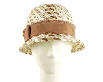 Straw Fedora Hat for Women, Vintage Style Summer Hat, Womens Straw Hat, Perfect Gift for Mom, Sun Hat, Trilby Hat, White & Tan Straw Hat
