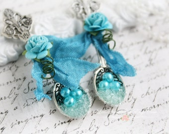 Embellish Silver Spoons  Set of 2 ~ Turquoise~ for Scrapbooking, Card Making, Tag Art, Altered Art, Mixed Media