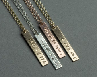 REVERSIBLE Vertical Bar Necklace, Skinny Two Sided Monogram Necklace, Yellow Gold, Rose Gold or Silver, Personalized Jewelry Gift