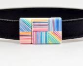 10mm Flat Lightweight Acrylic Clasps - 10F-ACP12 - Pastel Lines