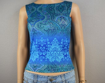 90s Charlotte Russe Tank Top Paisley Print Blue and Green Tank Size Small 90s Clothing Epsteam