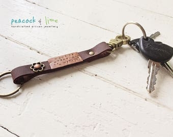 Home is wherever i'm with you handstamped quote keychain fob // steampunk leather copper brass and mixed metal key ring //original handmade