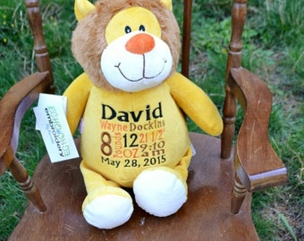 LION Birth Announcement Baby Keepsake Plush Stuffed Animal Cubbie Personalized