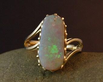 CHRISTMAS SALE Australian Iridescence Opal Ring- Multi- Colored Ring-Organic Shaped Ring