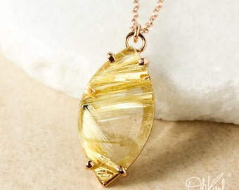 Leaf Natural Golden Rutile Quartz Necklace – Choose Your Pendant
