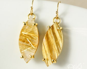 Leaf Shaped Natural Raw Golden Rutile Quartz Earrings  – 14kt Yellow Gold