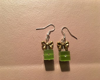 Earrings, dangle, green gift box with gold bow on sterling silver hooks.