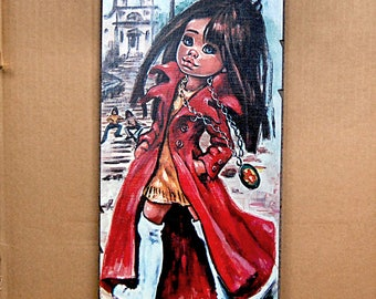 PRICE REDUCED Vintage Big Eye Wall Art Teen Girl Mod 1960s Decor Hippie by Frida Idylle Jolylle.