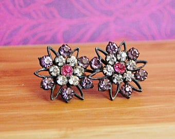 Vintage Flower Purple Rhinestone Earrings Screw Back Star Shape Antique Costume Jewelry.