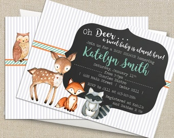 Woodland Animals - Watercolor Oh Deer - Baby Shower Invitation - Digital Printable File - Double-sided