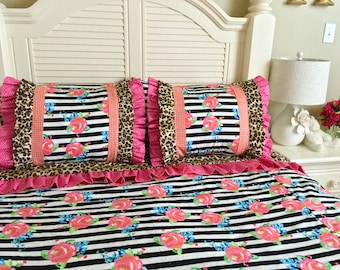 Watercolor Floral Bedding, Twin Bedding, Leopard Bedding for Girls, Girl's Bedding, Twin Size Bedding, 3pc Bedding, Hot Pink Duvet