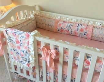 Blush Floral Bedding Sets for Baby Girl, Peachy Geo Crib Set, Custom Baby Bedding, Luxury Baby Bedding, Crib Bedding, Blush Crib Set