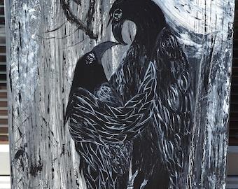 Crow/Black Bird Art, Full Moon, Love, Original Acrylic Painting, First Date