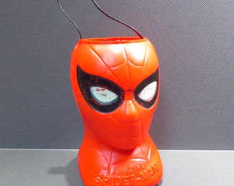 Spider Man Halloween Candy Bucket Vintage 1970s Trick or Treat Super Hero Candy Container
