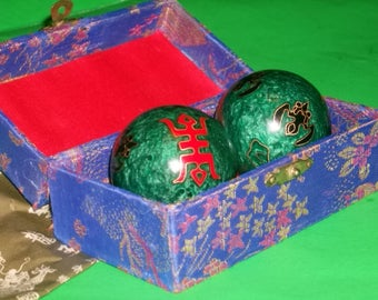 Musical Chinese Baoding Exercise Balls in Silk Box