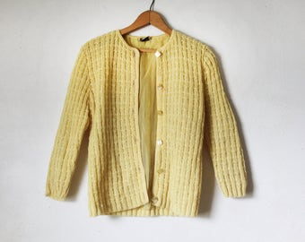 Vintage Yellow Knit Cardigan