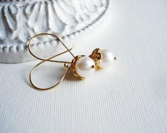 Freshwater Pearl Earrings in Vermeil Gold, Long White Pearl Earrings, Gold Earrings, Classic Jewelry, Wedding Jewelry, Winter Jewelry