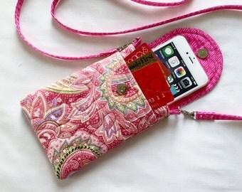 Iphone 6 Plus Smart Phone Gadget Case Detachable Neck Strap Quilted Pink Floral Paisley