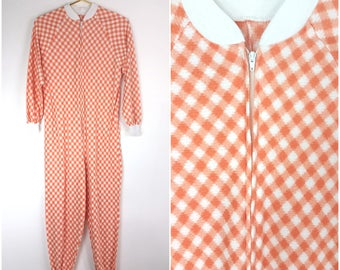 Adorable Vintage 70s 80s Orange & White Plaid Soft Long Johns Pajamas!