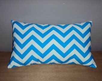 FREE SHIPPING 15x8 Turquoise Blue and White Chevron Zig Zag Lumbar Pillow