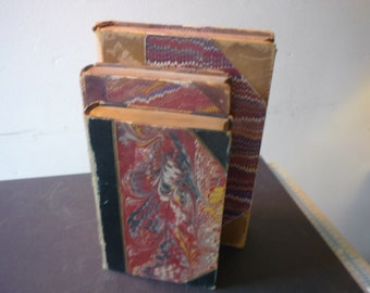 Antique book set - Lovely Leather Bound Set - 1870 - Blue Red Marbeled Boards covers - book collector - book lover Leather Spines Book Stack