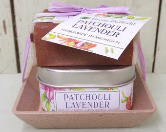 Patchouli Lavender Candle & Soap Dish Kit-  Green Daffodil