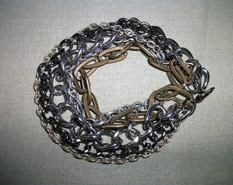 Men Unisex Multi Chain Mixed Metals Bracelet  Industrial  Big Bold Chunky  OOAK SIlver Gunmetal Copper Gift for Father