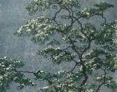 Studio Sale - linocut tree OOAK hand-pulled block print tree, moku haga fine art print