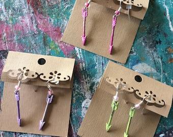Arrow earrings hand painted