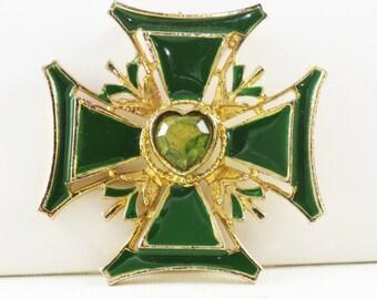 Vintage Green Enamel Heart Rhinestone Maltese Cross Brooch Pin (B-2-4)