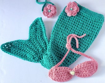 Baby Mermaid Outfit - Crochet Mermaid Outfit - Newborn Headband - Newborn Girl Photo Prop Outfit - Newborn Mermaid Outfit - Mermaid Outfit