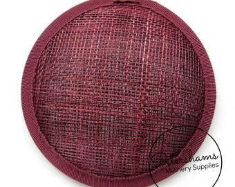 11cm Round Sinamay Fascinator Hat Base for Hat Making Millinery - Burgundy