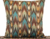 Chevron Pillow Cover Cushion Southwestern Decor Teal Rust Mustard Green Brown Decorative 18x18