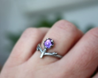 Amethyst twig ring-organic branch ring-rose cut natural gemstone-sterling silver handmade-February Birthstone-made to order.